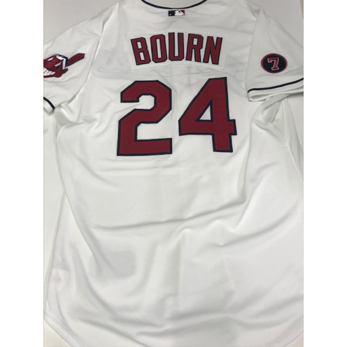 Photo of Michael Bourn Team Issued 2015 Home Jersey w/ #7 Al Rosen Patch