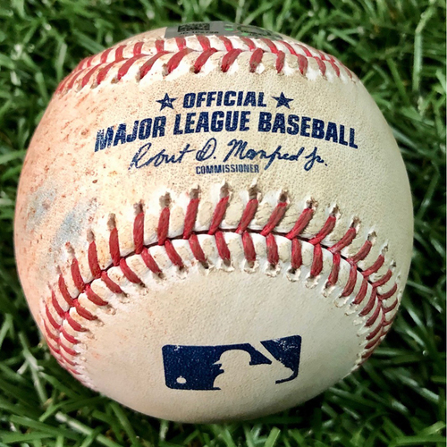 Photo of Game Used Baseball: Yandy Diaz single off Tommy Milone - August 25, 2020 v BAL