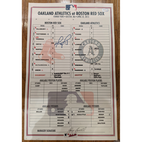 Photo of David Ortiz Autographed April 22, 2013 Red Sox vs. Athletics Game Used Lineup Card - Red Sox Win 9 to 6