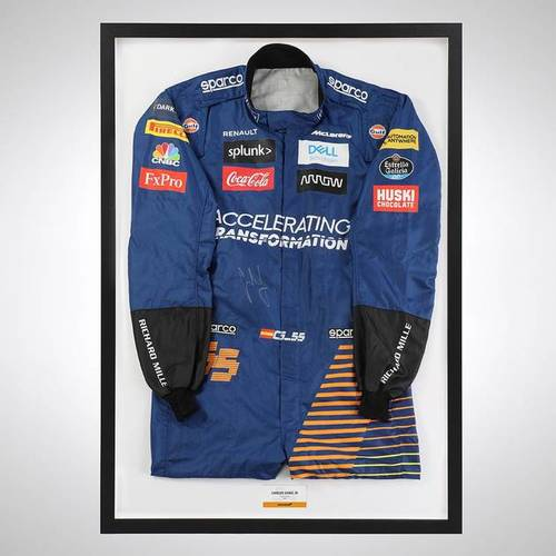 Photo of Carlos Sainz 2020 Framed Signed Official Replica Race Suit