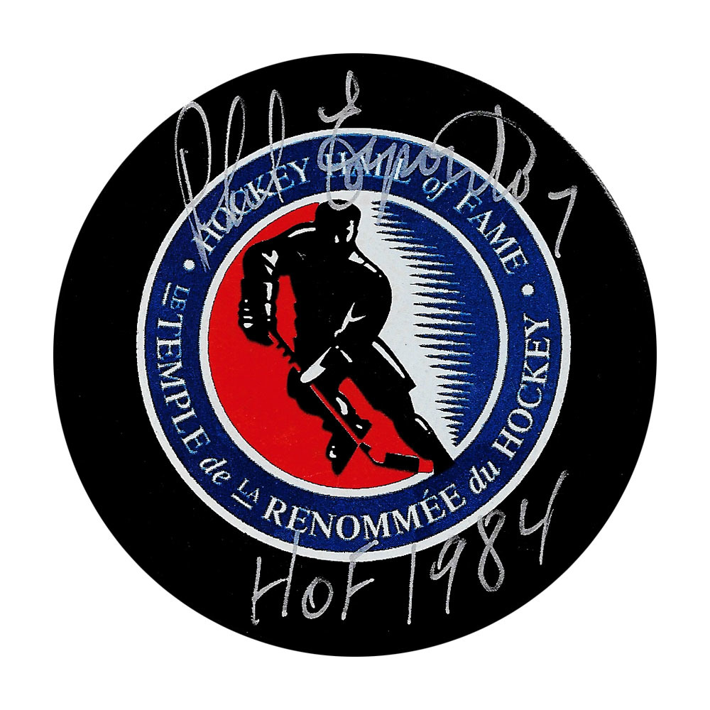 Phil Esposito Autographed Hockey Hall of Fame Puck w/HOF Inscription