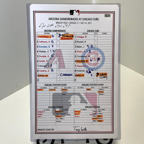 Photo of Game-Used Lineup Card - Alec Mills vs. Merrill Kelly, Cubs @ D-backs 7/24/2021