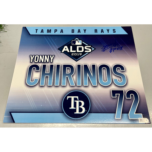 Photo of Game Used Autographed ALDS Locker Tag: Yonny Chirinos - October 7, 2019 v HOU
