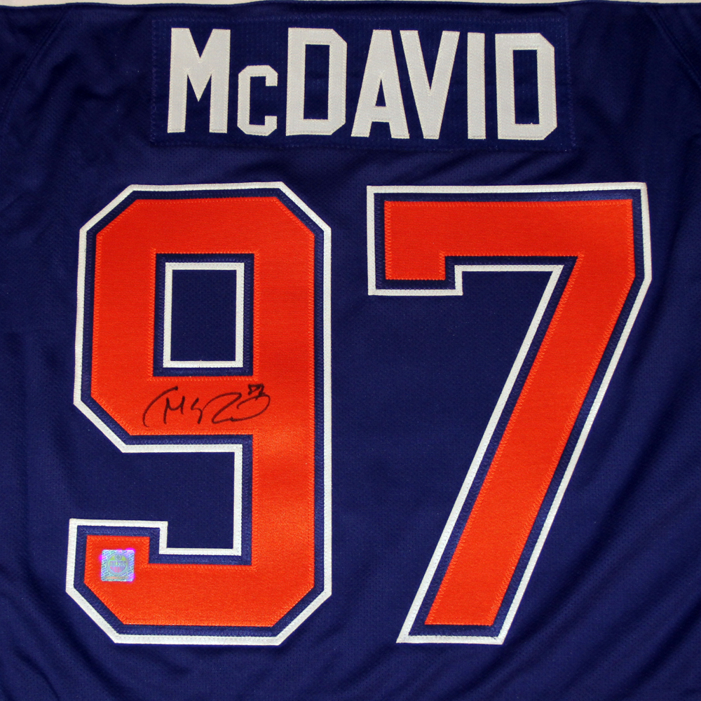 fd062016 ... clearance zoom connor mcdavid 97 autographed framed edmonton oilers  royal blue reebok replica hockey jersey.