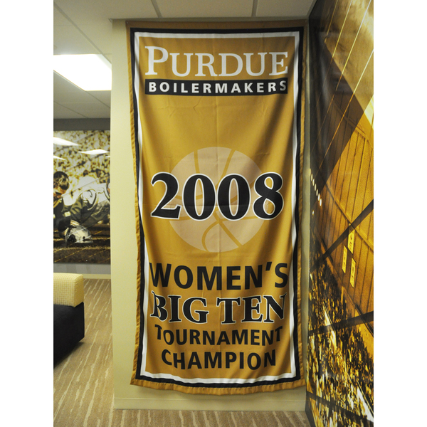 Photo of Mackey Arena Banner: Women's Basketball 2008 B1G Tourney Champs