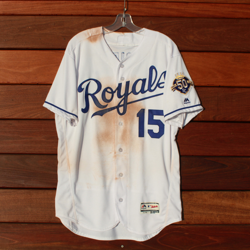 Photo of Game-Used Jersey: Whit Merrifield 444th and 445th Career Hits & 42nd Stolen Base of 2018 Season (Size 44 - CLE @ KC - 9/27/18)