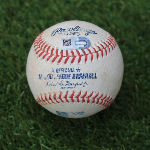 Photo of Game-Used Baseball: J.D. Martinez 1,055th Career Hit (BOS @ KC - 6/4/19)