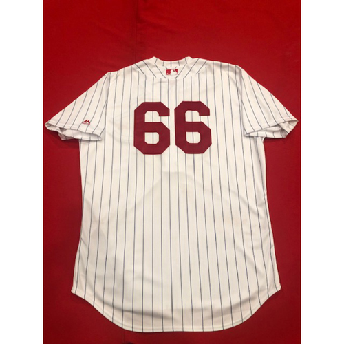 Photo of Yasiel Puig -- Game-Used Jersey -- 1919 Throwback Game -- Nationals vs. Reds on June 2, 2019 -- Jersey Size 48