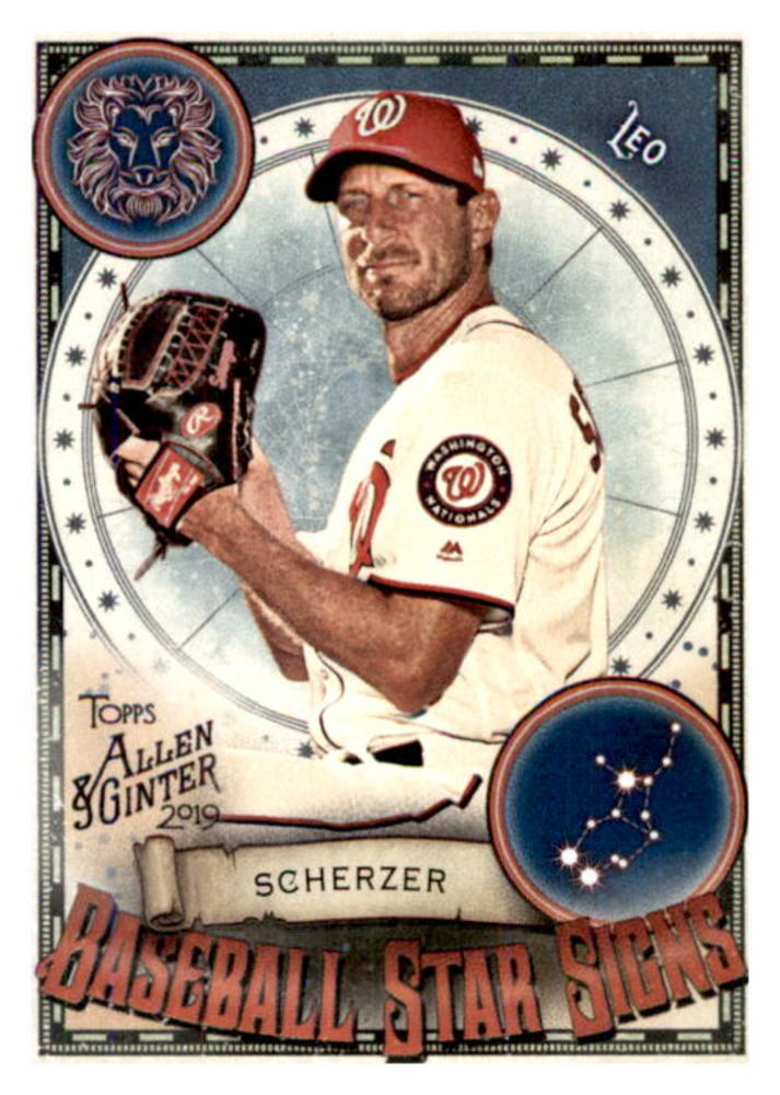 2019 Topps Allen and Ginter Baseball Star Signs #BSS48 Max Scherzer