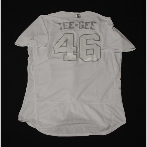 "Photo of Taylor ""TEE-GEE"" Guerrieri Texas Rangers Game-Used 2019 Players' Weekend Jersey"