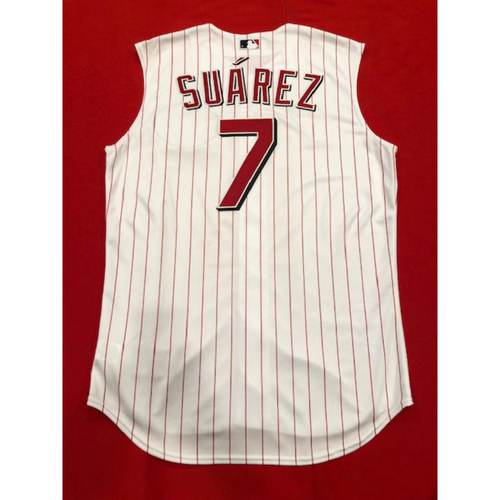 Photo of Eugenio Suarez (NL Player of the Month-September) -- Game-Used 1999 Throwback Jersey (Starting 3B: Went 1-for-5) -- Mets vs. Reds on Sept. 22, 2019 -- Jersey Size 46