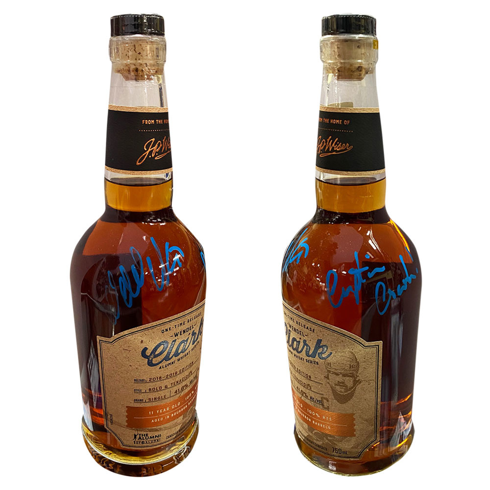 Wendel Clark Autographed J.P. Wisers One-Time Release Alumni Series Whisky Bottle w/CAPTAIN CRUNCH Inscription