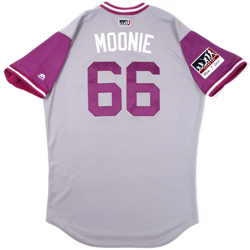 "Photo of Aaron ""Moonie"" Munoz Colorado Rockies 2017 Game-Used Players Weekend Jersey"
