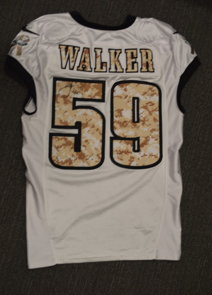 EAGLES - JOE WALKER SALUTE TO SERVICE SIGNED PRACTICE WORN JERSEY NOVEMBER 2017 WITH CAMO NUMBERS