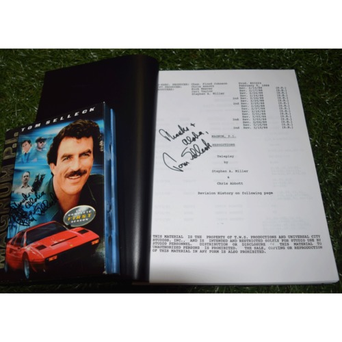 "Photo of Rays Baseball Foundation Auction: Tom Selleck Autographed First Season DVD of Magnum P.I. and Autographed Episode Script of the Series Finale Episode ""Resolutions"""