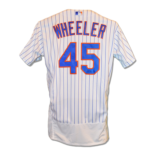 Photo of Zack Wheeler #45 - Game Used White Pinstripe Jersey - 7.1 IP, 3 ER, 8 K's, Earns 4th Win - Mets vs. Tigers - 5/26/2019