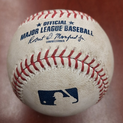 Photo of Authenticated Game Used Baseball - Sean Reid-Foley Strikes Out Rafael Devers (July 2, 19 vs BOS). Top 6.