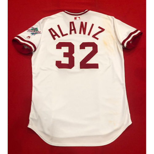 Photo of R.J. Alaniz -- Game-Used 1990 Throwback Jersey -- Cardinals vs. Reds on Aug. 18, 2019 -- Jersey Size 48