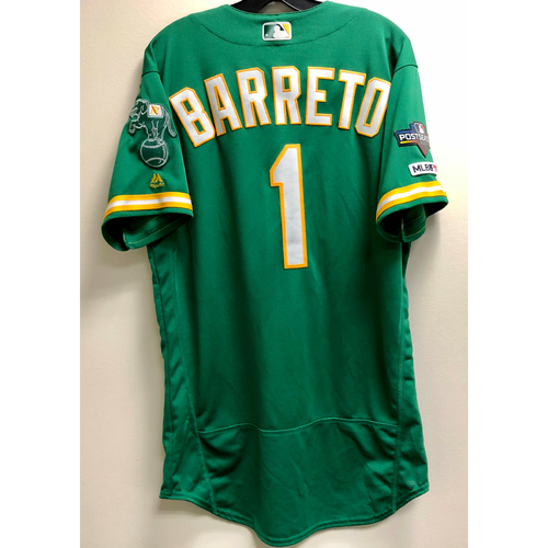 Photo of Franklin Barreto Game-Used 2019 A.L. Wild Card Jersey w/ Postseason Patch