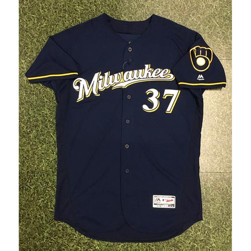 Anthony Swarzak 2018 Team-Issued Navy Ball & Glove Jersey