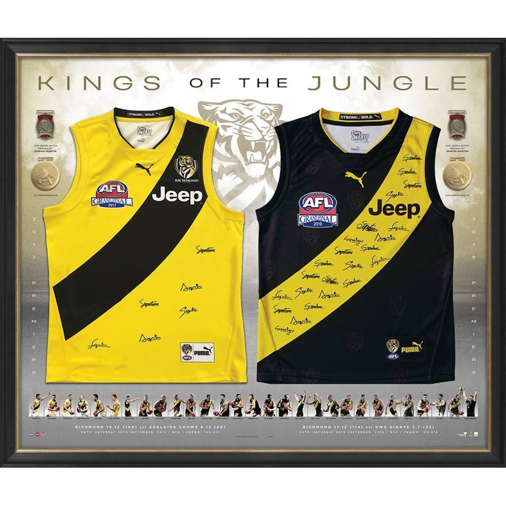 2017 & 2019 Kings of The Jungle Dual Premiership Framed Guernseys - Edition #4