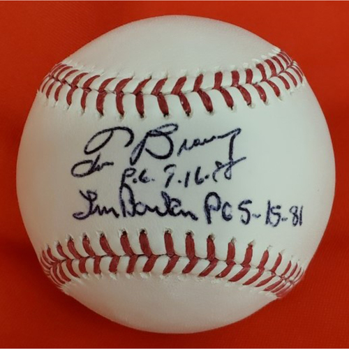 "Photo of Tom Browning & Len Barker Autographed ""Perfect Game"" Baseball"