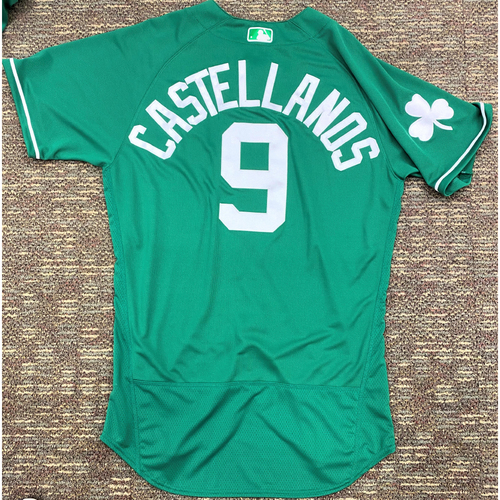 Photo of Nick Castellanos #9 Detroit Tigers Team-Issued 2019 St. Patrick's Day Jersey (MLB AUTHENTICATED)