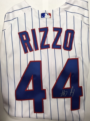 Photo of Anthony Rizzo Autographed White Authentic Cubs Jersey