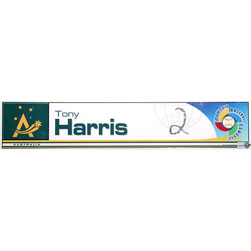 Photo of 2006 Inaugural World Baseball Classic: Tony Harris Locker Tag (AUS) Game-Used Locker Name Plate