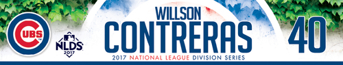Willson Contreras Game-Used Locker Nameplate -- NLDS Game 3 -- Nationals vs. Cubs -- 10/9/17