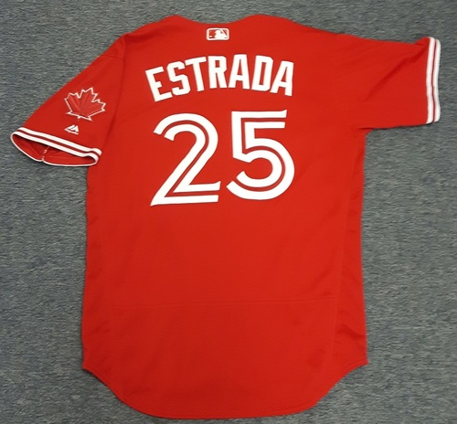 Photo of Authenticated Game Used Jersey - #25 Marco Estrada. July 30, 2017. Size 46.