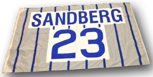 Photo of Wrigley Field Collection - Foul Pole Flag - Ryne Sandberg Retired Number Flag - 'Sandberg 23'