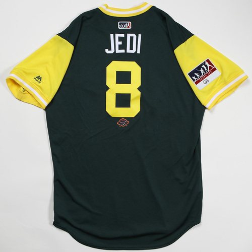 "Photo of Jed ""Jedi"" Lowrie Oakland Athletics Game-Used Jersey 2018 Players' Weekend Jersey"
