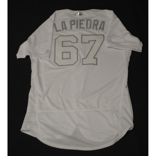 "Photo of Phillips ""LA PIEDRA"" Valdez Texas Rangers Team-Issued 2019 Players' Weekend Jersey"
