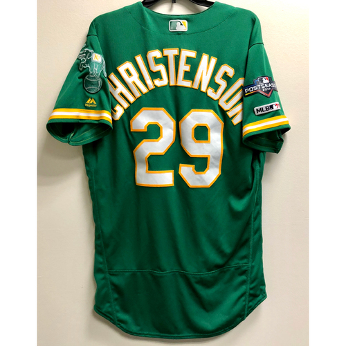 Ryan Christenson Game-Used 2019 A.L. Wild Card Jersey w/ Postseason Patch