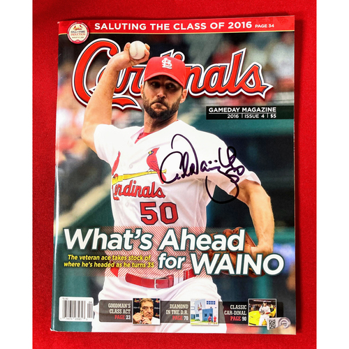 Photo of Adam Wainwright Autographed Cardinals GameDay Magazine