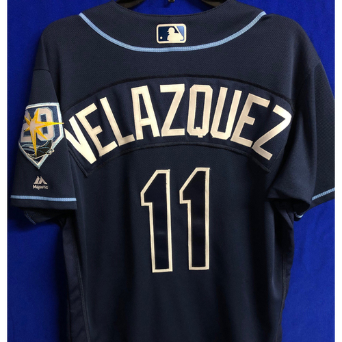 Photo of Game Used 20th Anniversary Navy Jersey: Andrew Velazquez - Rookie Season - September 29, 2018 v TOR