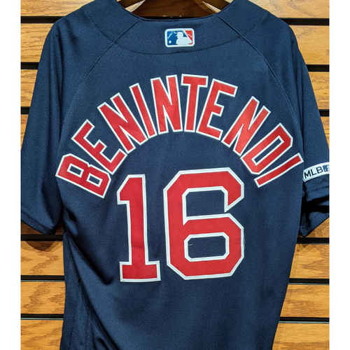 Photo of Andrew Benintendi #16 Game Used Navy Road Alternate Jersey