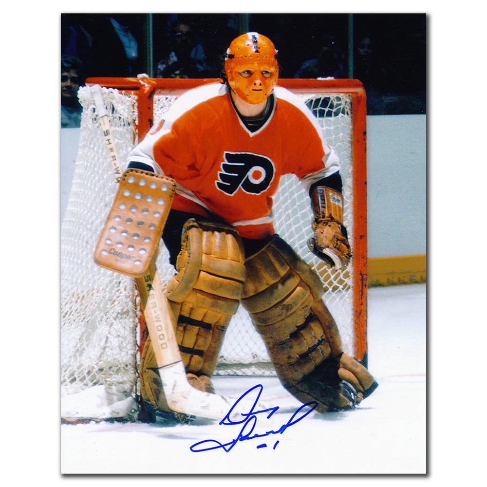 Doug Favell Philadelphia Flyers ORANGE MASK Autographed 8x10