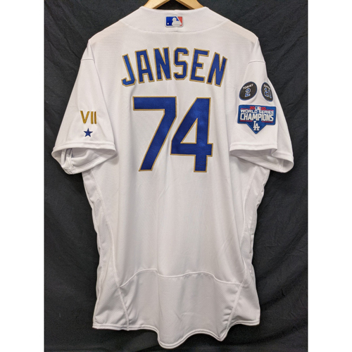 Photo of Kenley Jansen Game-Used Gold Trim Re-Opening Day Jersey - 6/15/21