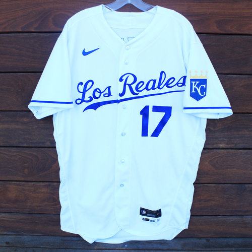 Photo of Game-Used Los Reales Jersey: Hunter Dozier #17 - 1 for 4 (Home Run) (SEA@KC 9/17/21) - Size 46