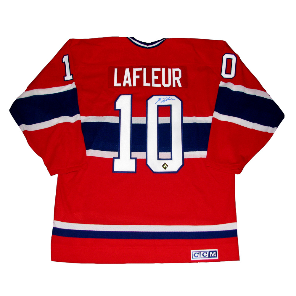 new product cdb39 3e46f GUY LAFLEUR Signed Montreal Canadiens Red CCM Jersey - NHL ...