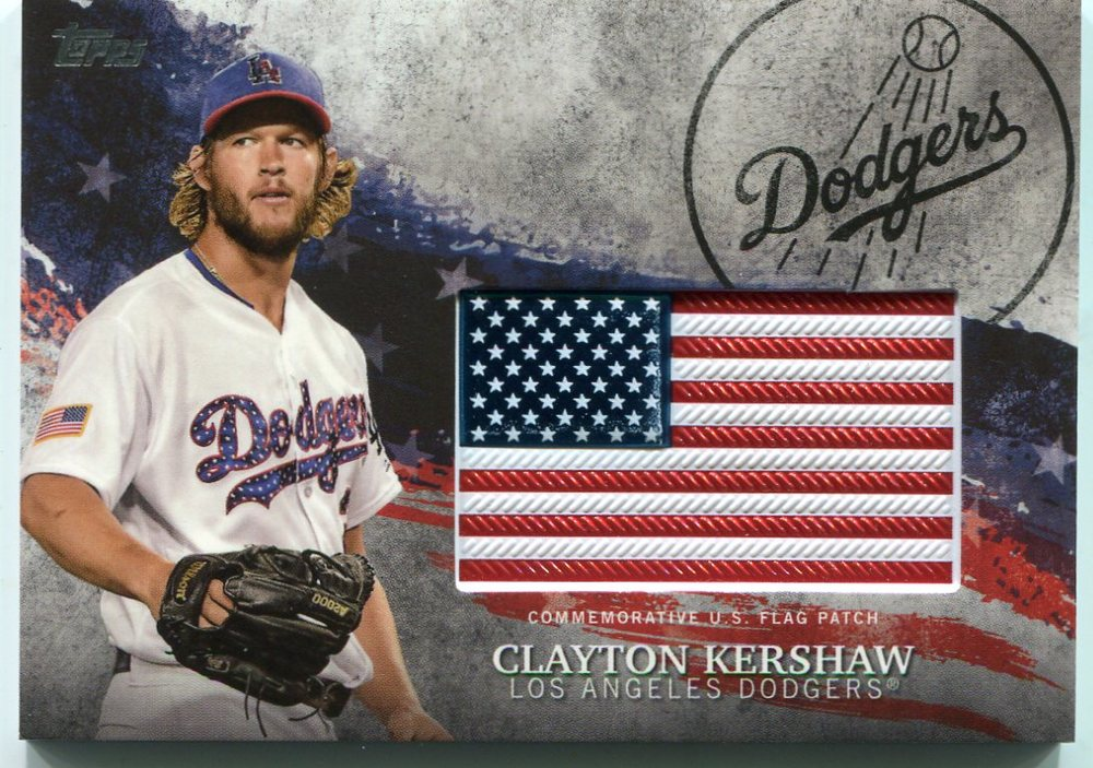 2018 Topps Independence Day U.S. Flag Relics #IDMLCK Clayton Kershaw