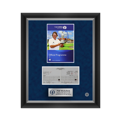2 of 500 L/E Phil Mickelson, The 142nd Open Final Round Scorecard and 2014 Programme Cover Reproductions Framed
