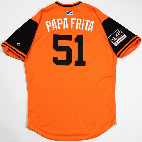 "Photo of Paul ""Papa Frita"" Fry Baltimore Orioles Game-Used 2018 Players' Weekend Jersey"