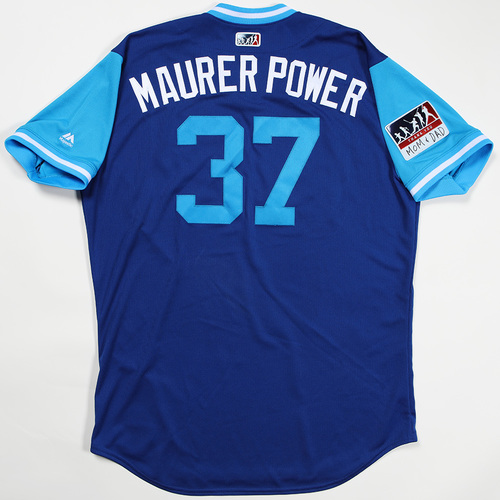 "Photo of Brandon ""Maurer Power"" Maurer Kansas City Royals Game-Used Jersey 2018 Players' Weekend Jersey"