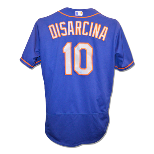 Photo of Gary DiSarcina #10 - Game Used Blue Alt. Road Jersey - Mets vs. Red Sox - 9/15/18