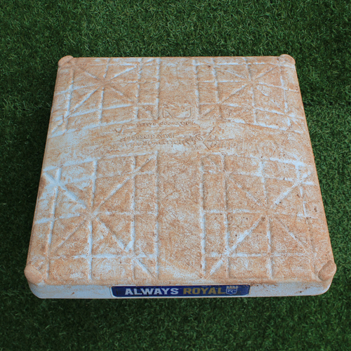 Photo of Game-Used 2nd Base: Nicky Lopez MLB Debut (Innings 1-5 - TEX @ KC - 5/14/19)