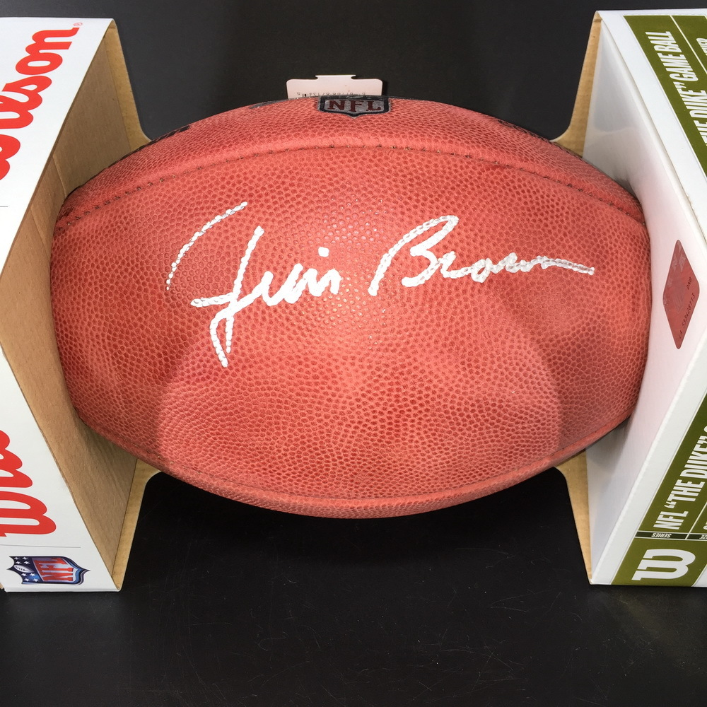 Jim Brown Signed Authentic Football with NFL 100 Logo