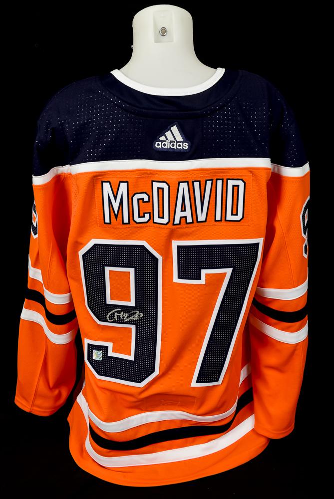 Connor McDavid #97 - Autographed Edmonton Oilers Orange Adidas Retail Pro Authentic Jersey - Includes Bonus 2019-20 Edmonton Oilers Team-Issued 8